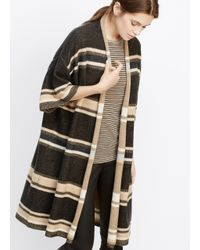 Vince - Black Wool Cashmere Texture Stripe Short Sleeve Open Front Cardigan - Lyst