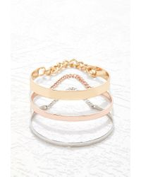 Forever 21 - Metallic Chained Cuff Set - Lyst