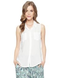 Splendid | White Sleeveless Shirting Top | Lyst