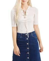 TOPSHOP | Natural Lace-up Short Sleeve Crop Top | Lyst