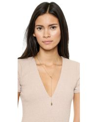 Jennifer Zeuner | Metallic Double Diamond Lariat Necklace | Lyst
