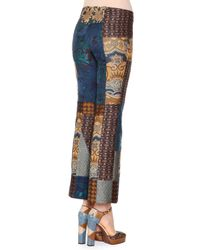 Etro - Blue Patchwork Jacquard Flared Pants - Lyst