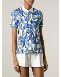 Etro - Blue Paisley Print Polo Shirt - Lyst