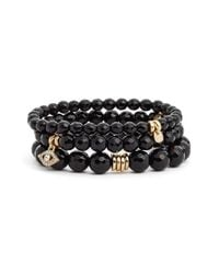 Sequin - Black 'color Karma' Bead Stretch Bracelet - Lyst
