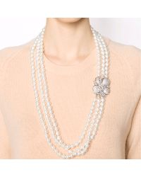 Fantasia Jewelry - White Three Strand Pearl Necklace - Lyst