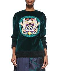 Mary Katrantzou - Black Embellished Medallion Velvet Sweatshirt - Lyst