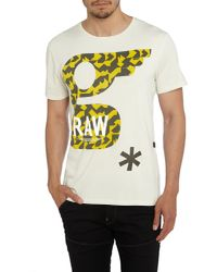 G-Star RAW - White Glims Regular Fit Graphic Crew Neck T-shirt for Men - Lyst