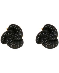 Oscar de la Renta - Black Resin Swirl Flower Button Earring - Lyst