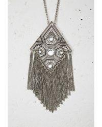 Forever 21 - Metallic Rhinestone Etched Fringe Pendant Necklace - Lyst