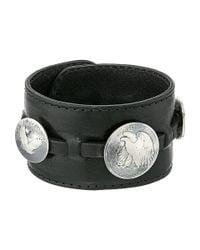 King Baby Studio - Black Leather Cuff Bracelet W/ Half Dollar And 2 Quarter Dollar Coins for Men - Lyst