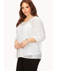 Forever 21 - White Plus Size Poetic Embroidered Blouse - Lyst