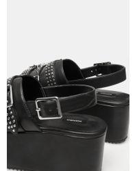 Mango - Black Platform Studded Sandals - Lyst