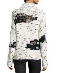 Line - Black Earnest Mock-neck Distress-knit Sweater - Lyst