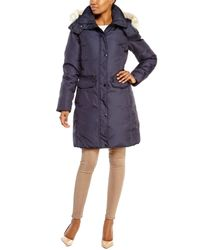Andrew Marc | Blue Darby Real Fur Trim Coat | Lyst