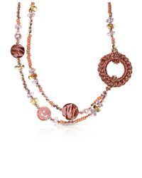 Antica Murrina - Avant Gard 2 Pink Murano Glass Long Necklace - Lyst