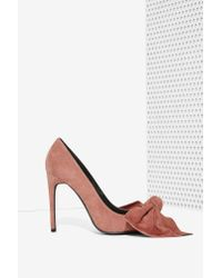 Jeffrey Campbell | Pink Grandame Suede Bow Pump - Dusty Rose | Lyst