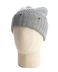 Vince Camuto - Gray Jersey Heather Grey Chevron Knit Studded Ribbed Cuff Hat - Lyst