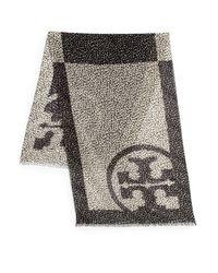 Tory Burch - Black Dotted Pony Logoprint Wool Scarf - Lyst