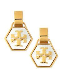 Tory Burch - Metallic Pearlescent Geo Logo Earrings - Lyst