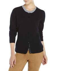 Qi - Black Crew Neck Knit Cashmere Cardigan - Lyst
