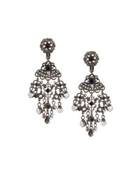 Jose & Maria Barrera | Metallic Gunmetal Crystal Chandelier Clip Earrings | Lyst
