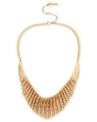 Kenneth Cole | Metallic Gold-tone Mesh Frontal Necklace | Lyst