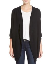 Velvet By Graham & Spencer | Black Oversize Open Front Cashmere Cardigan | Lyst