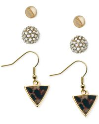 Guess | Metallic Gold-tone Stud Fireball Triangle Print Earring Set | Lyst