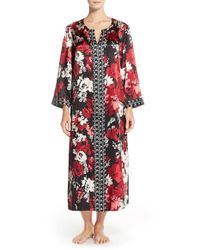 Oscar de la Renta - Red Print Charmeuse Nightgown - Lyst