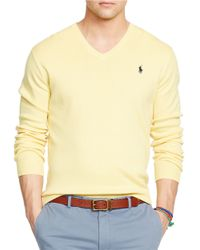 Polo Ralph Lauren | Yellow Pima V-neck Sweater for Men | Lyst