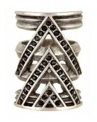 House of Harlow 1960 | Chevron Ring With Black Pave | Lyst