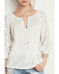 Forever 21 - Natural Floral Lace-paneled Peasant Blouse - Lyst
