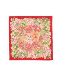 Ferragamo - Red Ginkos Print Foulard Silk Scarf - Lyst