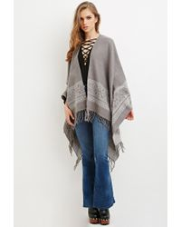 Forever 21 | Gray Fringed Tribal-inspired Shawl | Lyst