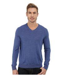 Calvin Klein   Blue Solid Merino V-neck Sweater for Men   Lyst