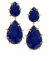 Kasturjewels | 22kt Gold Plated Electric Blue Stone Earrings | Lyst