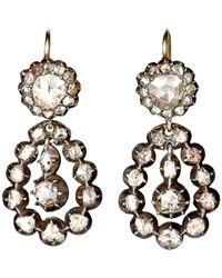 Olivia Collings - Metallic Antique Double-Drop Earrings - Lyst