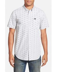 RVCA | White 'that'll Do' Slim Fit Short Sleeve Dobby Woven Shirt for Men | Lyst