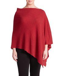 Eileen Fisher | Red Wool Asymmetrical Poncho | Lyst