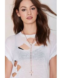 Nasty Gal | Metallic Luv Aj Saints 'n Sinners Rosary Necklace | Lyst