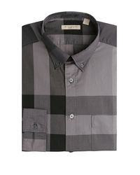 8b808d154b79 Burberry Brit Checked Cotton Shirt - Grey in Gray for Men - Lyst
