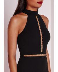 Missguided - Sleeveless Gold Hoop Trim Midi Dress Black - Lyst