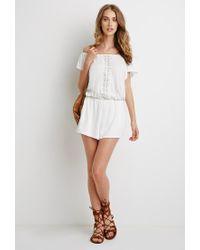 Forever 21 - White Crocheted Slub Knit Romper - Lyst