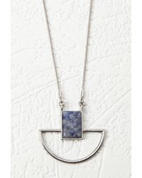 Forever 21 - Metallic Geo Faux Stone Pendant Necklace - Lyst
