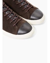 Mango | Brown Contrast-appliqué Suede Sneakers for Men | Lyst