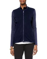 Eileen Fisher | Blue Stand-collar Jersey Jacket | Lyst