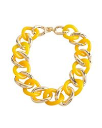 Kenneth Jay Lane - Yellow Gold And Citrus Resin Link Necklace - Lyst
