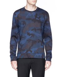 Valentino - Blue Camouflage French Terry Sweatshirt for Men - Lyst