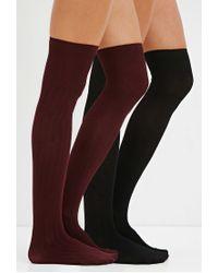 Forever 21 - Black Ribbed Over-the-knee Socks Pack - Lyst