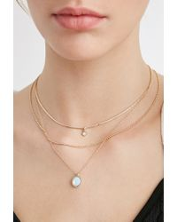 Forever 21 | Metallic Layered Faux Crystal Necklace Set | Lyst